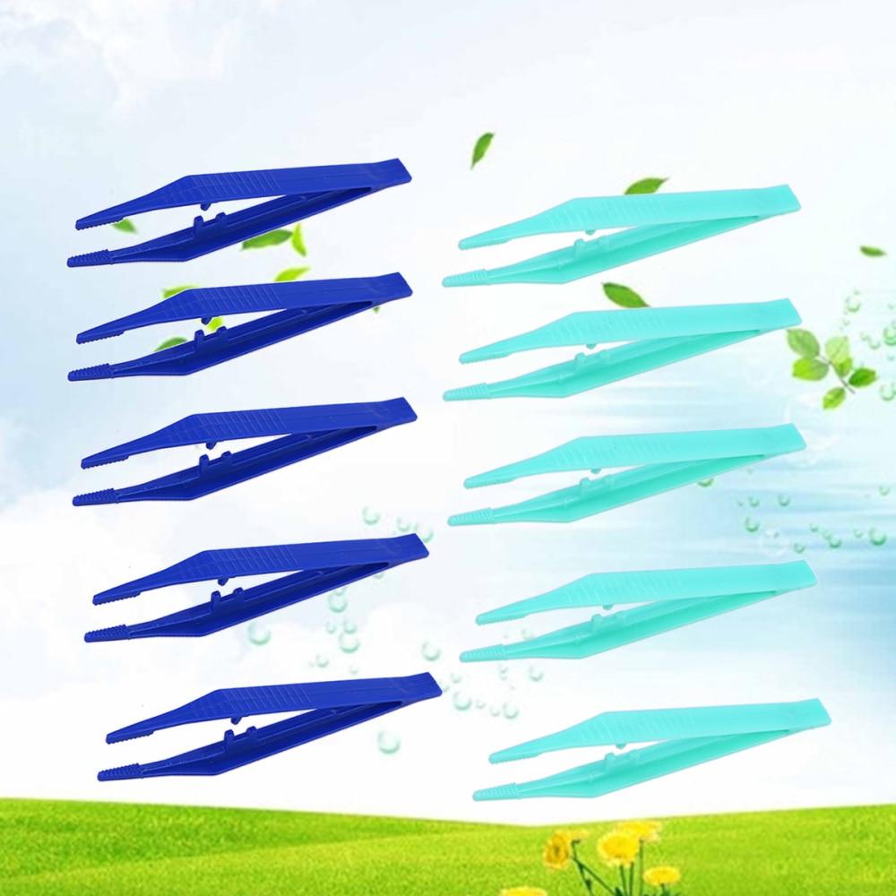 Pinzas desechables de 10 uds, pinzas médicas de cuentas, pinzas plásticas para manualidades DIY (Color al azar)