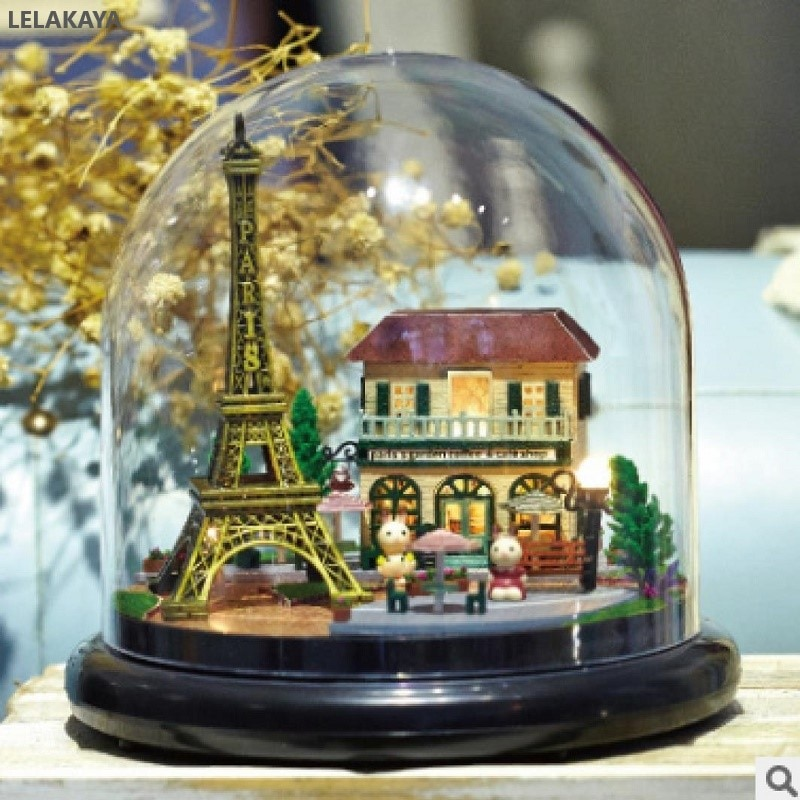 DIY Paris Torre Eiffel bola de cristal hecha a mano casa de muñecas de madera casa de muñecas en miniatura casa montar juguete modelo Kit de construcción
