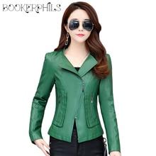 2019 Spring Autumn Women Faux Leather Jacket Plus Size 4XL Slim Short Coat Motorcycle Zippers Long Sleeve PU Leather Jackets