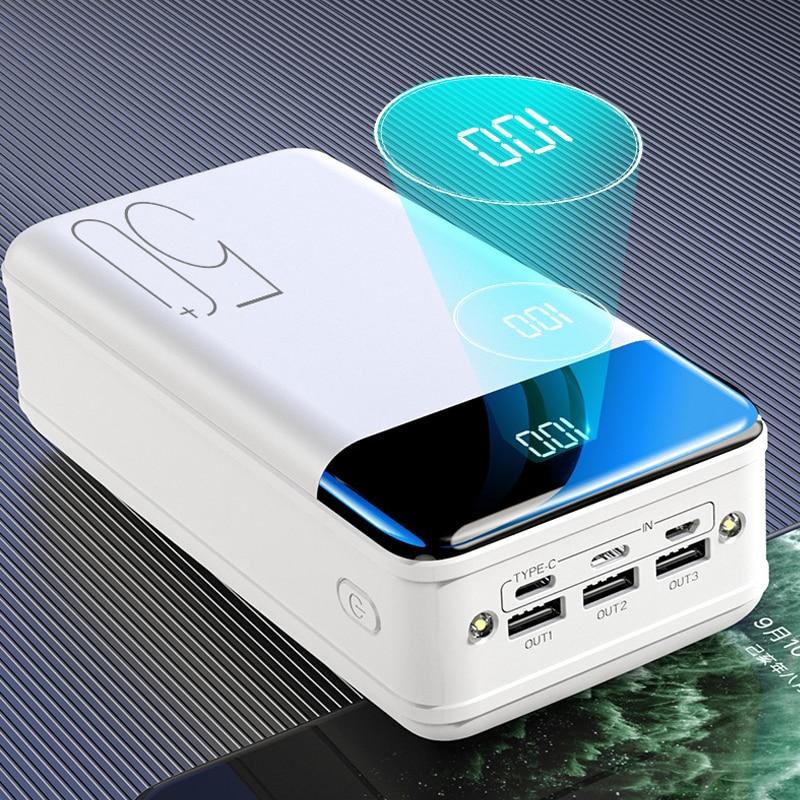 Banco de potência 50000 mah carregador portátil poverbank para iphone celular bateria externa powerbank 50000 mah para xiaomi bateria