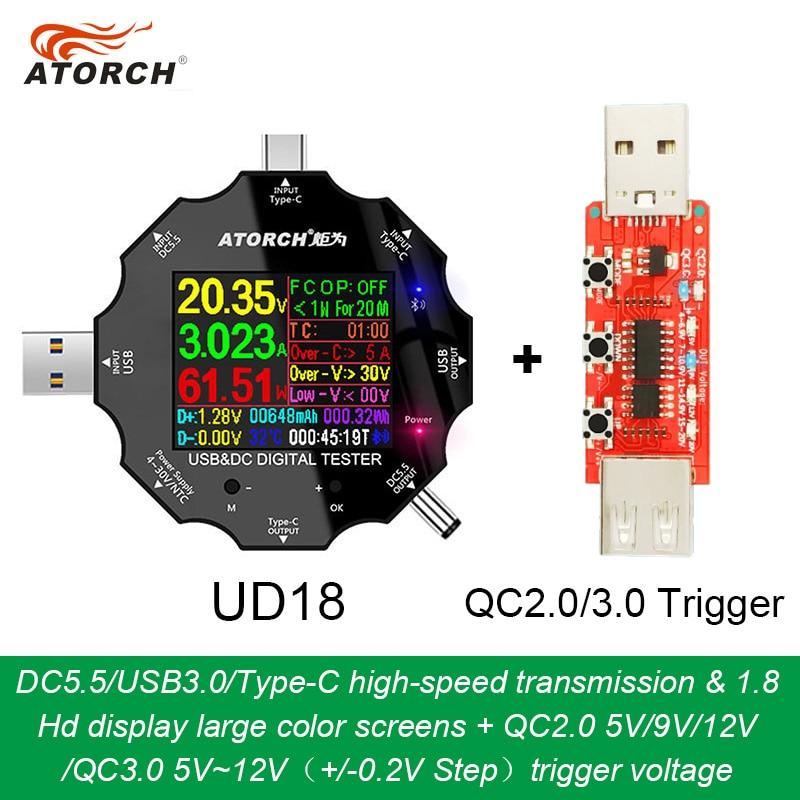 UD18 для приложения USB 3,0 Type-C PD DC5.5 5521 Вольтметр Амперметр измеритель тока напряжения, измеритель заряда для батареи Измеритель сопротивления ...