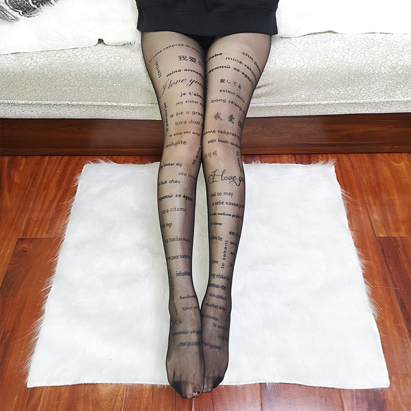 KASURE Woman Sexy Tights With Inscriptions Transparent Plus Size Nylon Tights With Patterned Tattoos Pantyhose New Fashion Hose