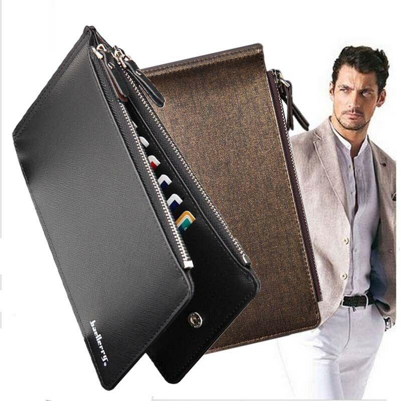 Мужской кожаный тонкий карман на молнии Длинный кошелек ID кредитный держатель для карт кошелек