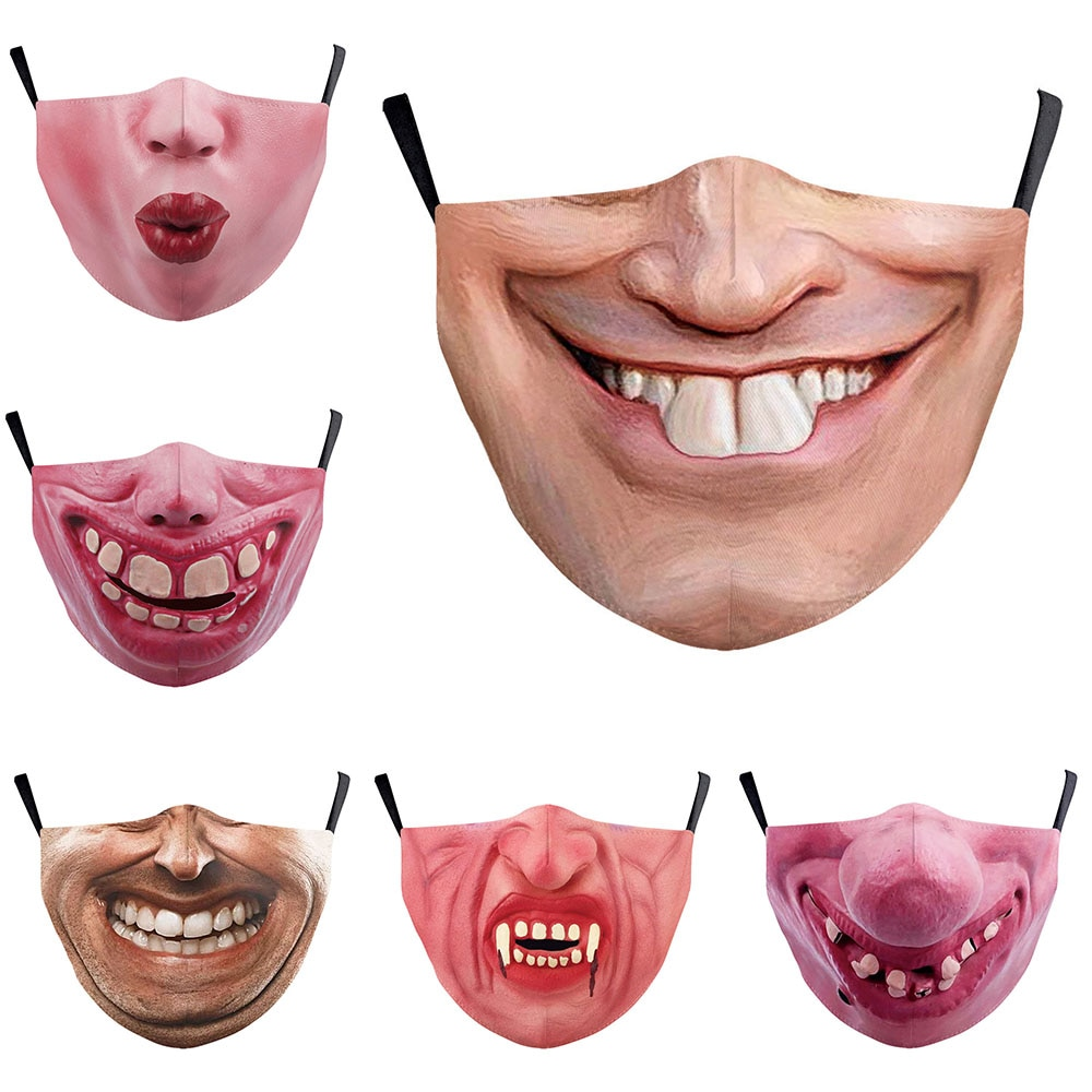 Hot Funny Big Mouth Cosplay Women's Men Unisex Masks Face-Protection Dustproof Cycling Street Spots Breathable Adult Mask