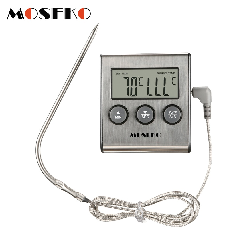digital instant read voice broadcast food bbq cooking thermometer with lcd backlit display foldable probe for steak milk water m MOSEKO Digital Kitchen Thermometer Oven Food Cooking Meat BBQ Probe Thermometer With Timer Milk Water Temperature Cooking Tools