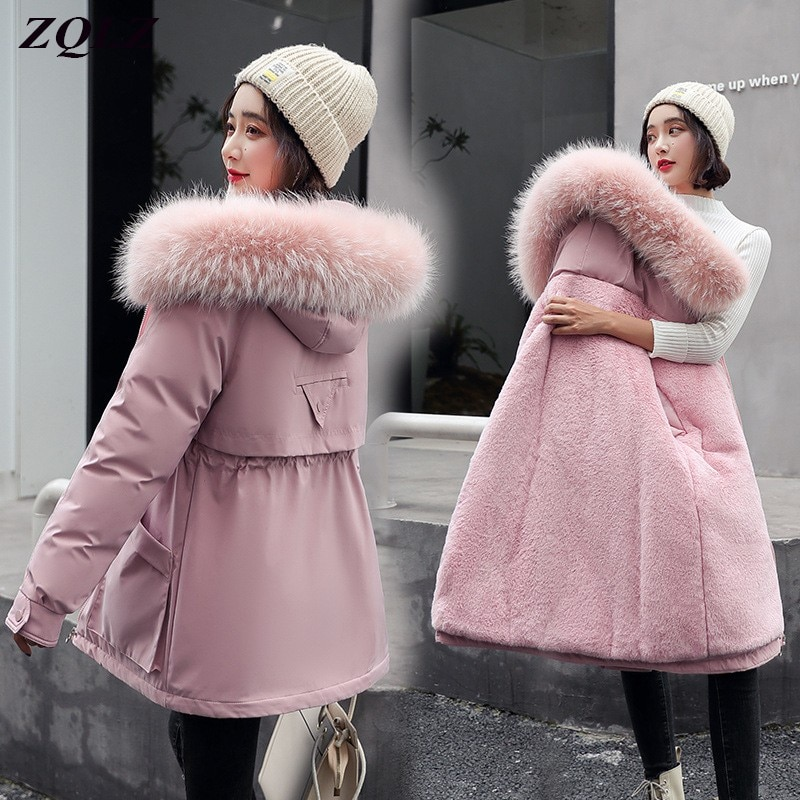 ZQLZ حجم كبير مقنعين أسفل سترة قطن المرأة شتاء طويل سترة فضفاضة عادية أسود وردي ملابس خارجية فام دافئ معطف مبطّن أنثى