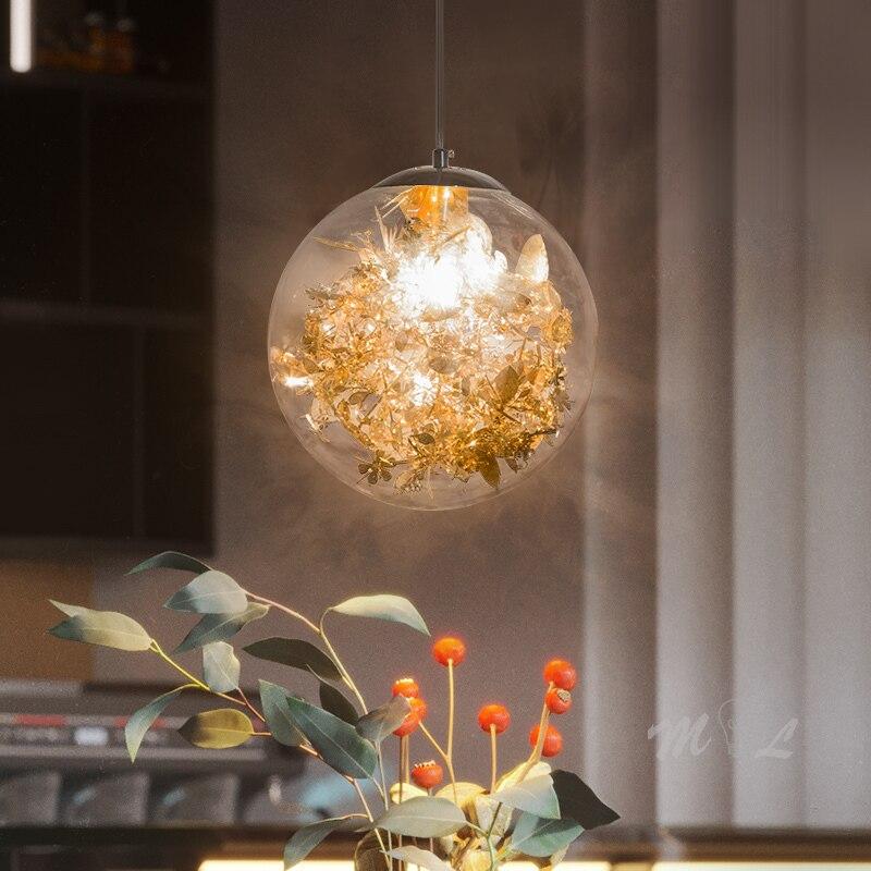 luminaria pendente criativa com flores luz de suspensao para decoracao de casa bar