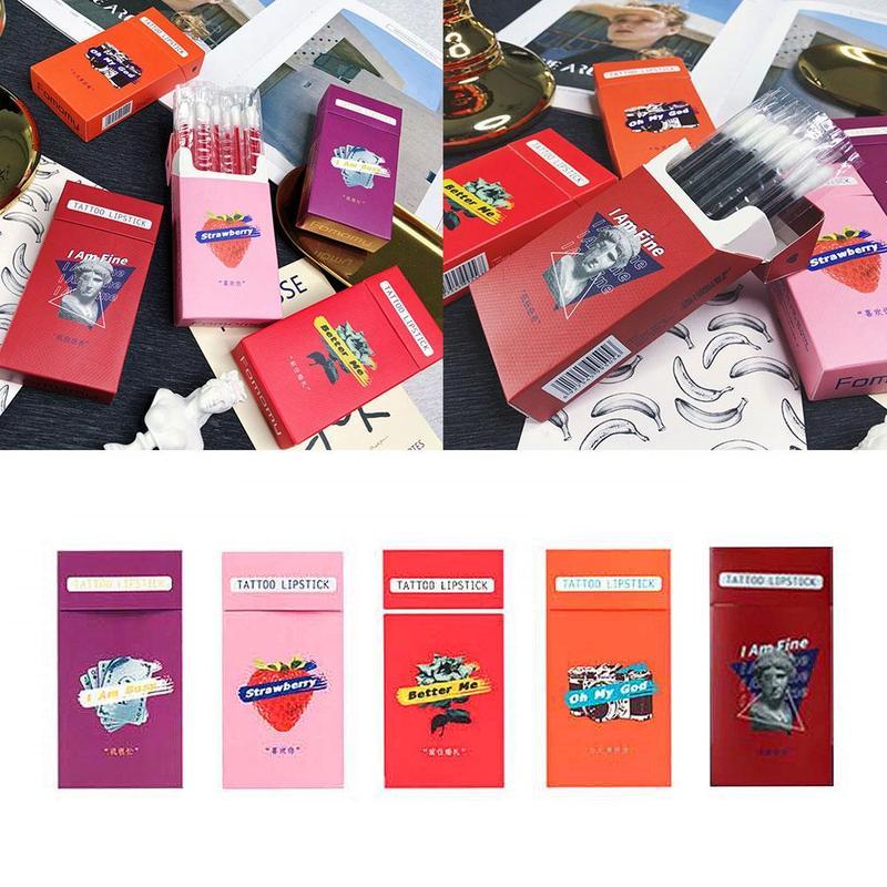 20pcs/set Lipstick Cigarette Case Cotton Swab Lipsticks Microbrush Long Lasting Waterproof Disposable Brushes Swab Lipstick