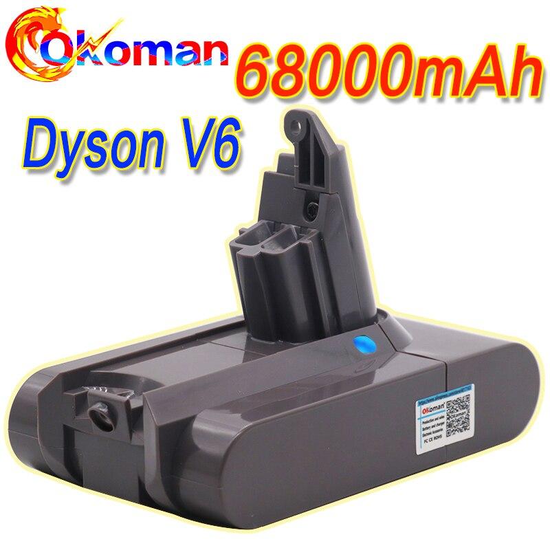 68000mAh 21.6V Bateria Li-ion para Dyson 12.8Ah V6 DC58 DC59 DC61 DC62 DC74 SV09 SV07 SV03Vacuum Bateria Mais Limpo
