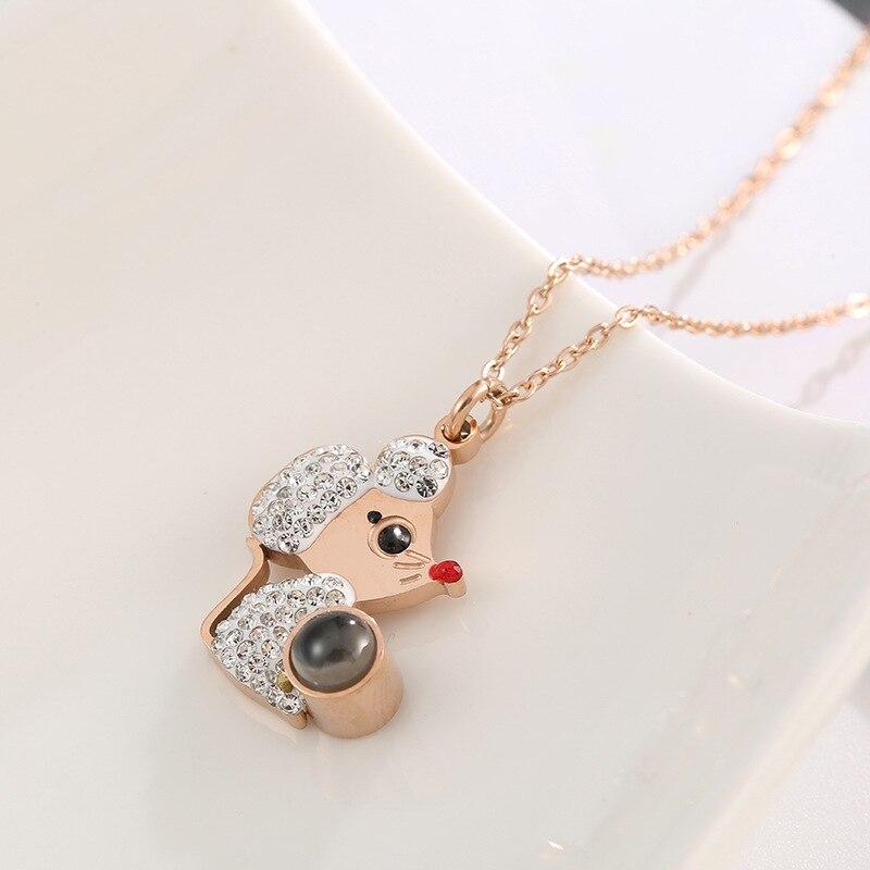 18kgp rosa ouro cor titânio aço mickey minnie pingente colar moda 316l aço inoxidável jóias para mulher (kgn007)