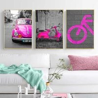 nordic street black pink scene wall art canvas paintings car posters wall art prints and posters living room home decor