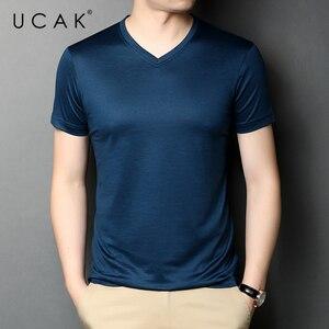 UCAK Brand Classic Solid Color V-Neck Pure Cotton T Shirt Men Clothes Summer NEW Arrivals Streetwear Casual Tshirt Homme U5457