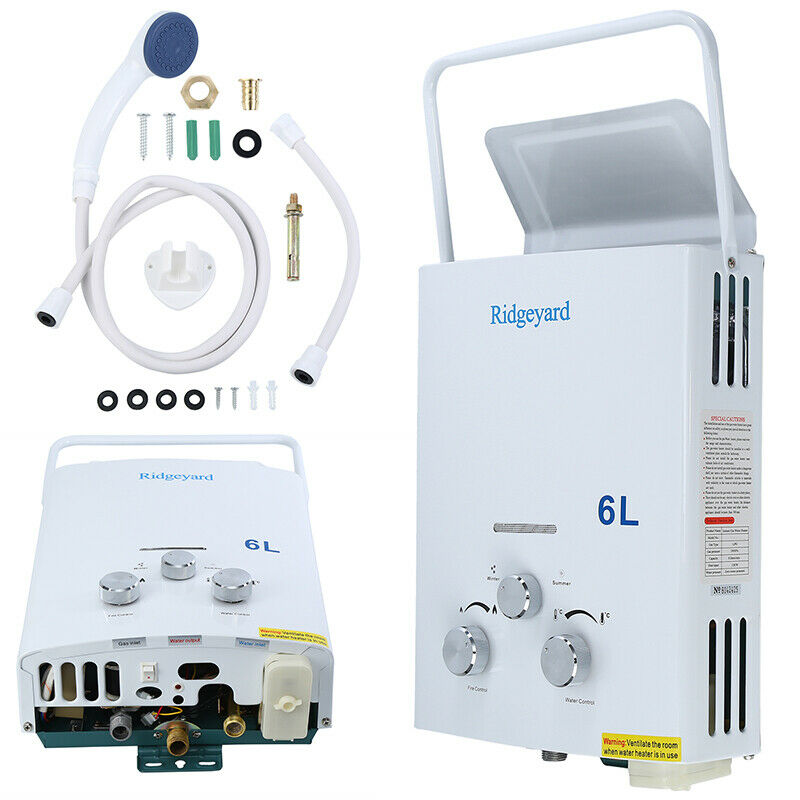 Yonntech 6L LPG Hot Water Heater 12KW Propan Gas Tankless Boiler with Shower Accessories for Home Ca
