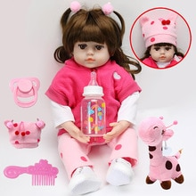 Reborn Baby Poppen Speelgoed Roze Doek Body Levensechte Zachte Siliconen Realistische Baby Pop Met Giraffe Peuter Verjaardag Kerstcadeaus