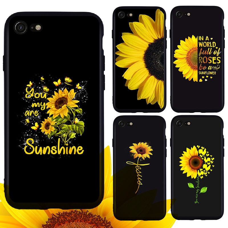 Funda de teléfono de girasol amarillo, carcasa para iPhone 11 Pro Max X XR XS Max 7 8 Plus 6 6s Plus 5S, bonita funda de teléfono negra blanda