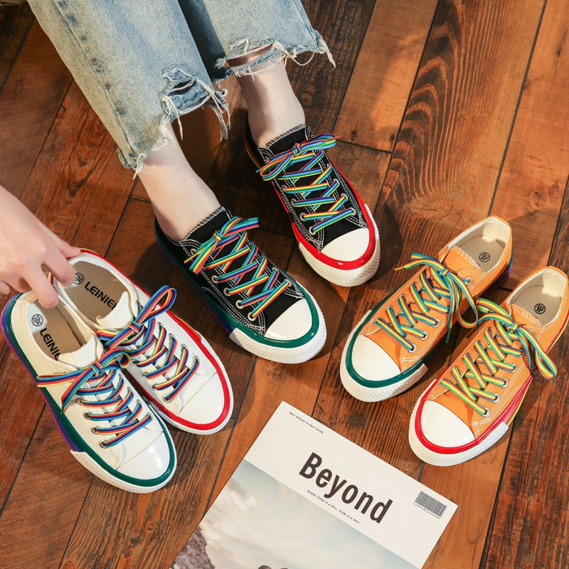New Fashion Rainbow Female Platform Walking Ladies Flat Comfort Casual Sneakers Women Vulcanized Shoes Canvas Summer Candy Color