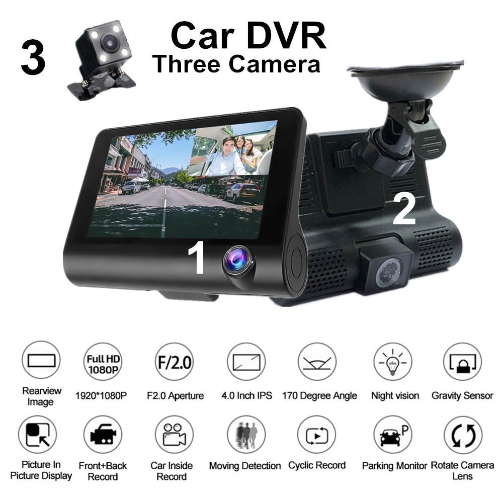 4 tres lentes espejo coche DVR 1080p Full HD Video Driving Recorder cámara de visión trasera Dash Cam g-sensor visión nocturna Dashcam