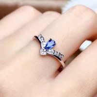925 sterling silver princess ring blue sapphire noble engagement party ladies ring fashion jewelry exquisite crown decoration