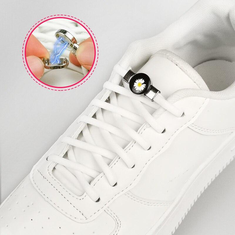 Cordones de bloqueo magnético, cordones de bloqueo elástico, zapatos creativos especiales sin cordones de encaje para niños y adultos, zapatillas con cordones Unisex