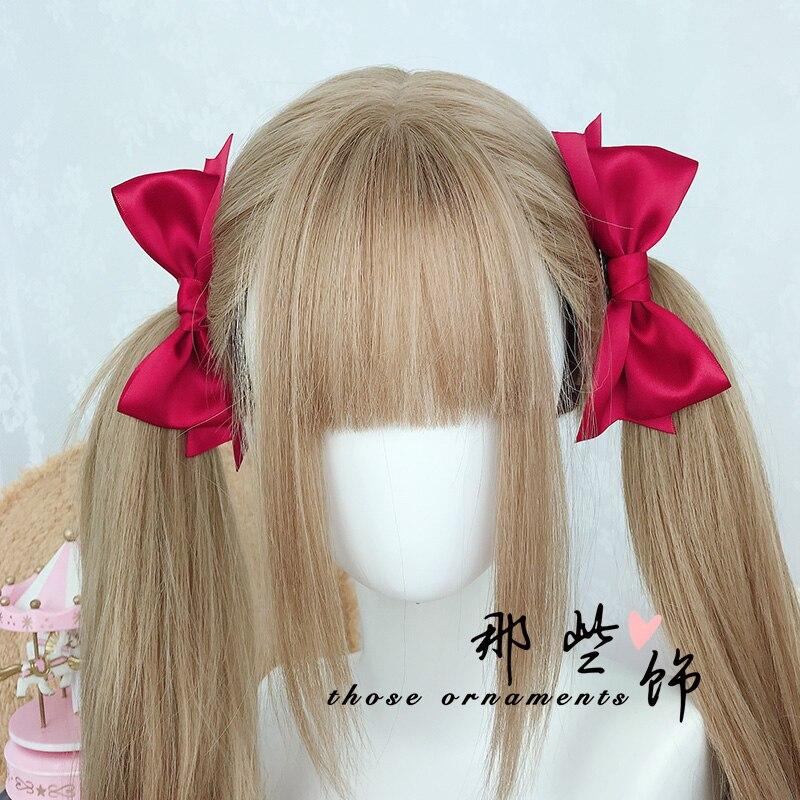 Accesorios para el cabello de niña suave un par de horquillas Clip lateral rojo Lolita doble cola de caballo lazo con pasador JK estilo universitario tocado