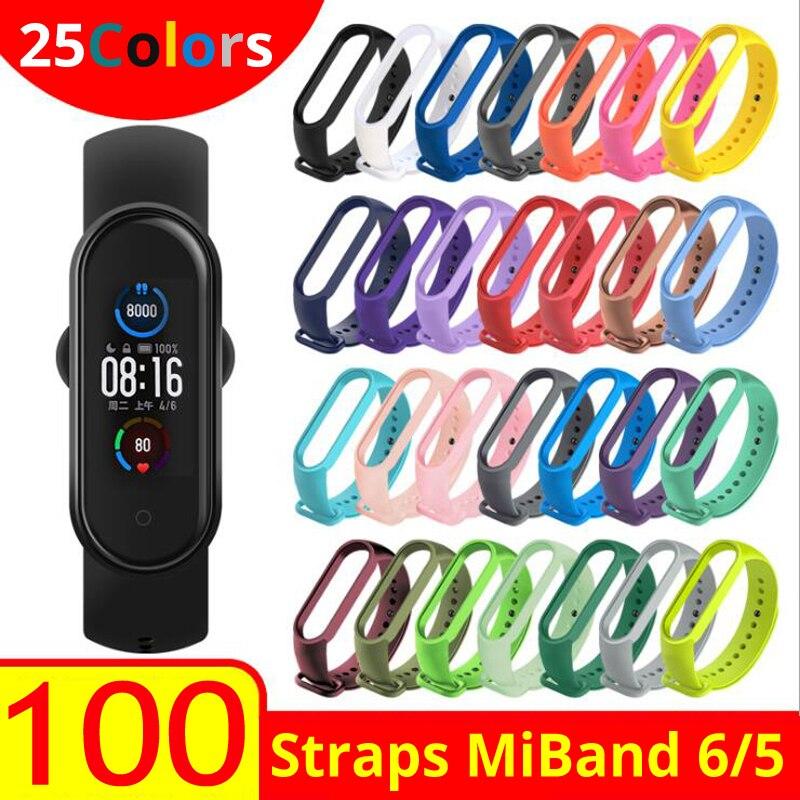 100 قطعة/الحزمة MiBand 6 5 حزام ل شاومي Mi الفرقة 5 6 سوار المعصم حزام سيليكون الفرقة ل Mi الفرقة 4 6 الأشرطة Miband5 معصمه