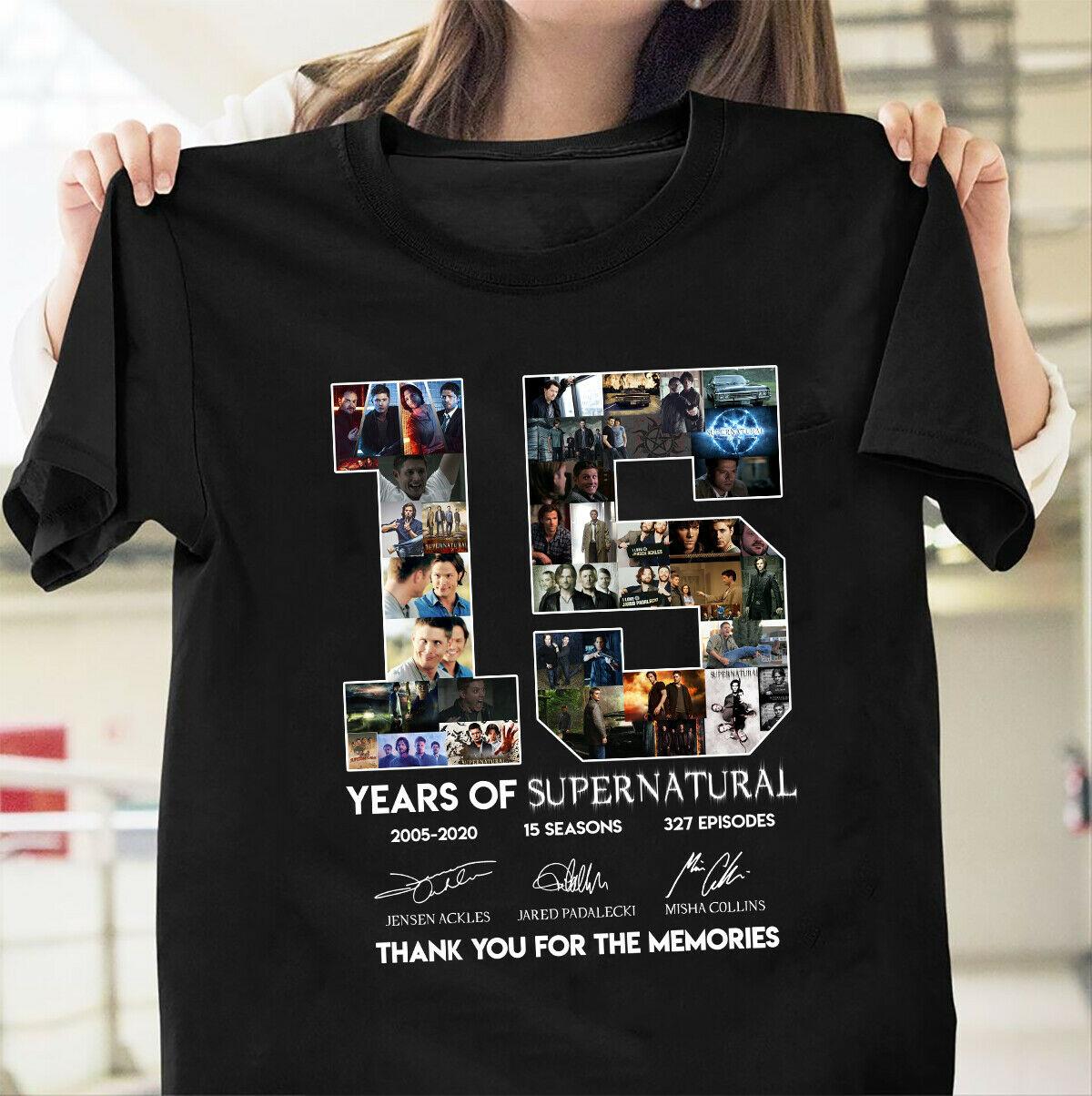 Supernatural 15 años aniversario Dean Sam Castiel firmas Negro hombres Camiseta de manga corta de algodón de verano camiseta de moda