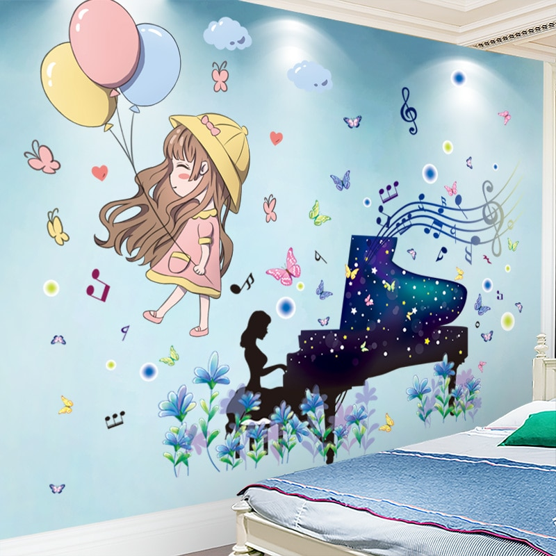 [shijuekongjian] Piano Girl Wall Stickers DIY Cartoon Balloons Mural Decals for Kids Bedroom Baby Room Nursery Decoration