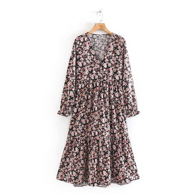 VomVoa 2020 spring European and American women's wild flower printing was thin elastic elastic V-neck ruffled flowing dress