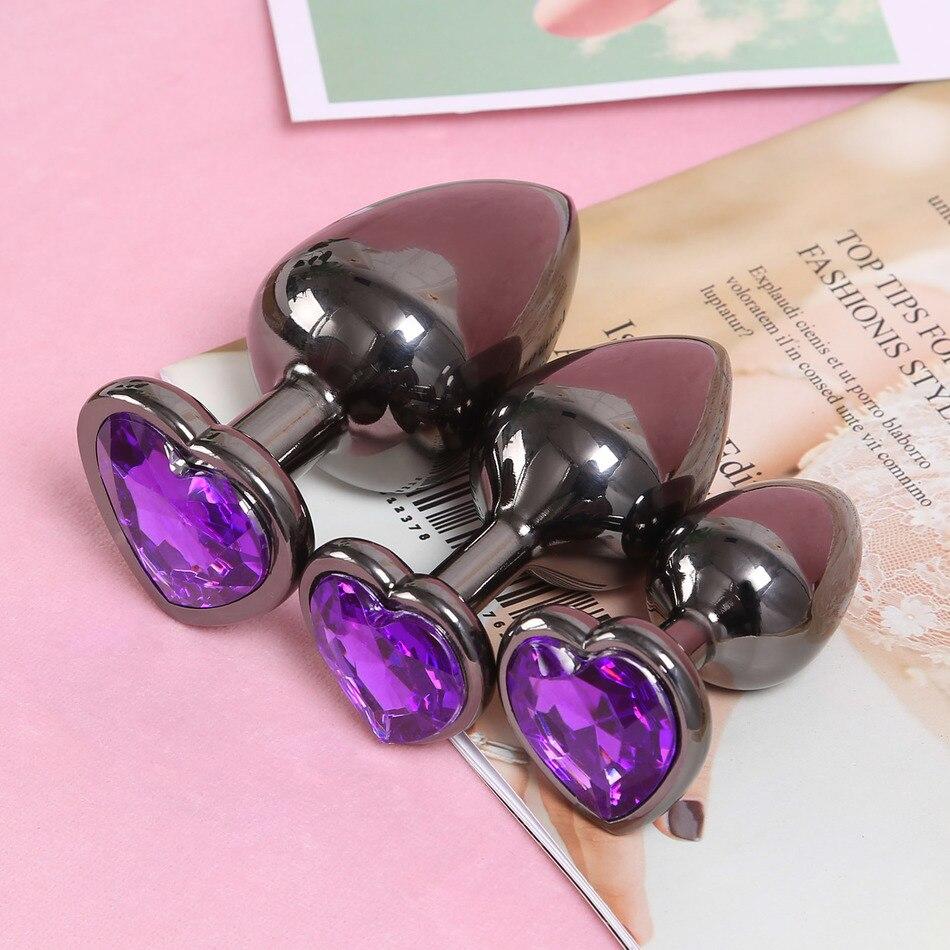 Masseur érotique métal bout à bout bouchons rouge violet coeur cristal Base noir Anal Plug gode perles vagin insérer hommes Prostate masseur