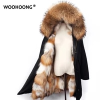 winter real fur parker women red fox coat removable natural raccoon hat waterproof fashion warmth overcoat customized large size