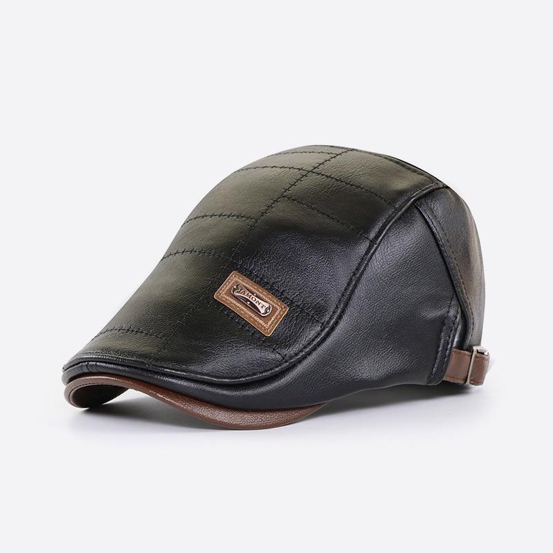 Top Level Leather Newsboy Cap Men Gorras Planas Hat Winter Autumn Warm Flat Caps Vintage Man Boinas Gatsby Hats