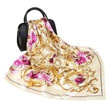 Silk Schal Frauen Mode luxus marke Designer Schöne blumen Foulard Satin Schal 90*90cm Square Neck Haar Kopf schals