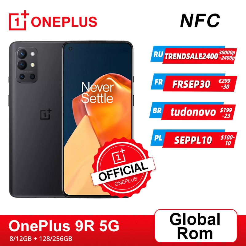 هاتف ذكي OnePlus 9R 9 R 5G عالمي 8GB 128GB Snapdragon 870 120Hz AMOLED عرض 65 واط تشوه 48MP رباعي OnePlus المتجر الرسمي