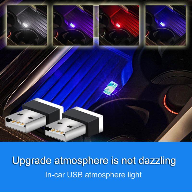 Interior del automóvil Mini del atmósfera del coche de la luz de la inalámbrico USB LED Interior del coche de neón lámpara de ambiente blanco lámpara de modelado de luz USB