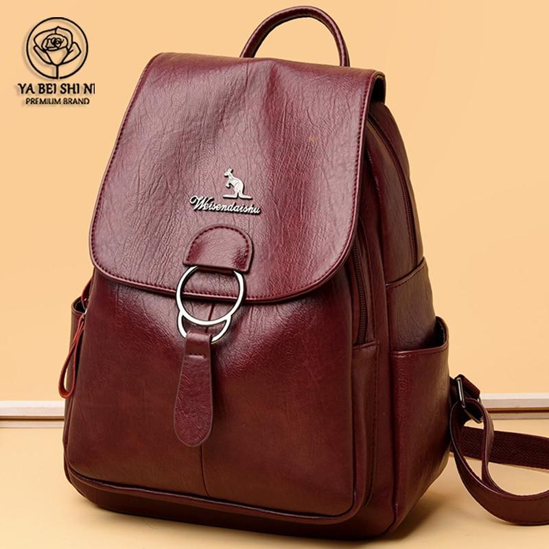 2021 Women Leather Backpacks High Quality Female Vintage Backpacks For Girls School Bag Travel Bagpack Ladies New Back Pack