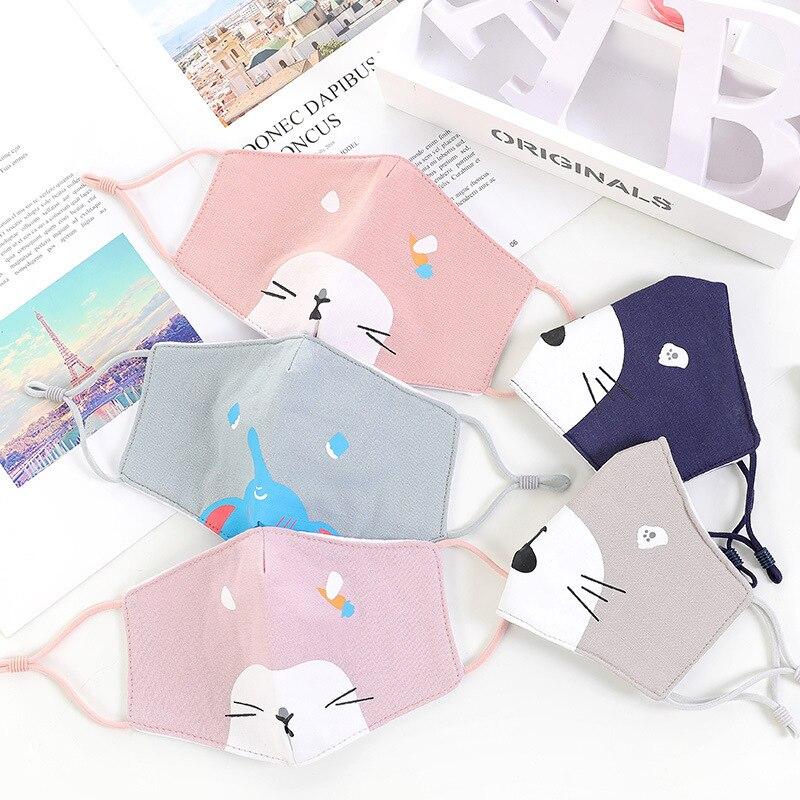 Dibujo animado Anti polvo gripe Vent lavable prenda de tela de algodón reutilizable lindo gato perro estampado