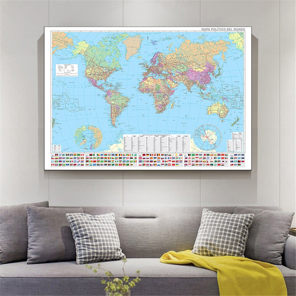 150*100cm The Spanish World Map with National Flags and Important Cities Wall Poster Canvas Painting Home Decor School Supplies