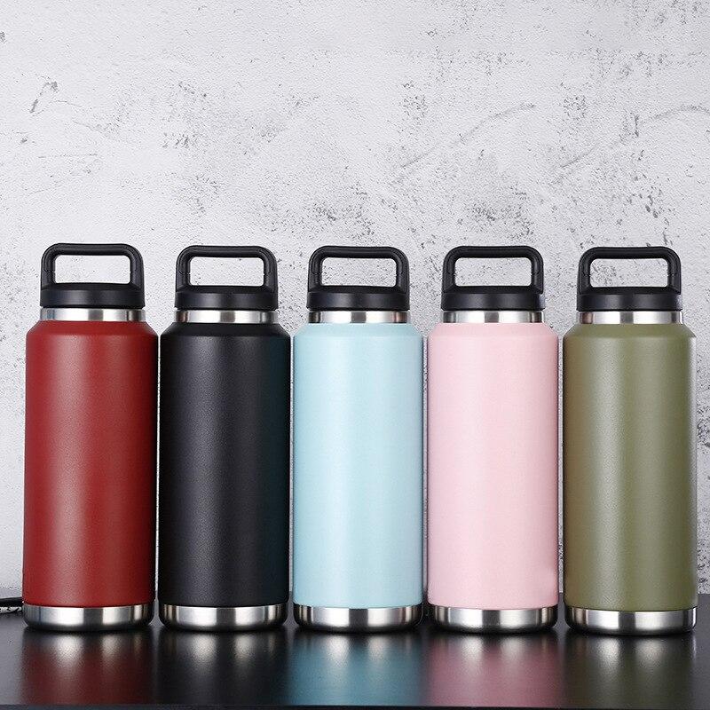 36oz كبير الفم زجاجة مزدوجة الجدار كوب من الفولاذ المقاوم للصدأ كأس زجاجة ماء كوب سيارة