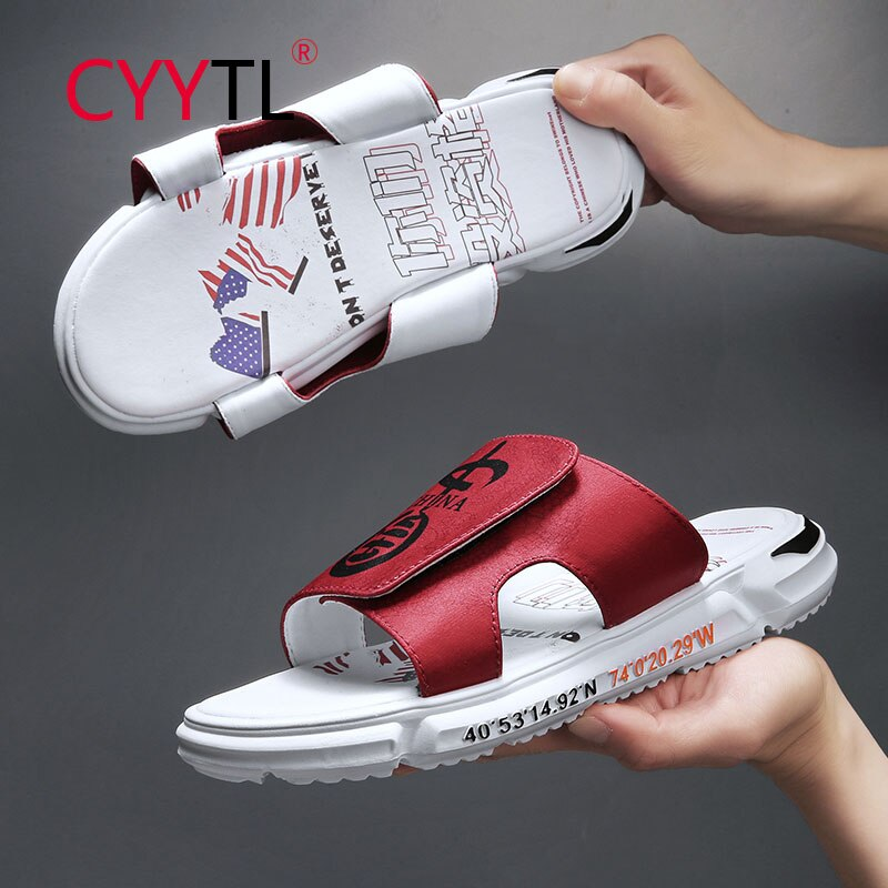 CYYTL Red Chinese Printed Men Slippers Summer Shoes Casual Beach Outdoor Sandals Non-slip Thick Sole Open Toe Chausson Homme