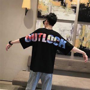 Ins Hot Unisex Big Letter Colorful Print Cool~Loose t shirt men Women Short Sleeves Oversize shirt Casual Lycra tshirt