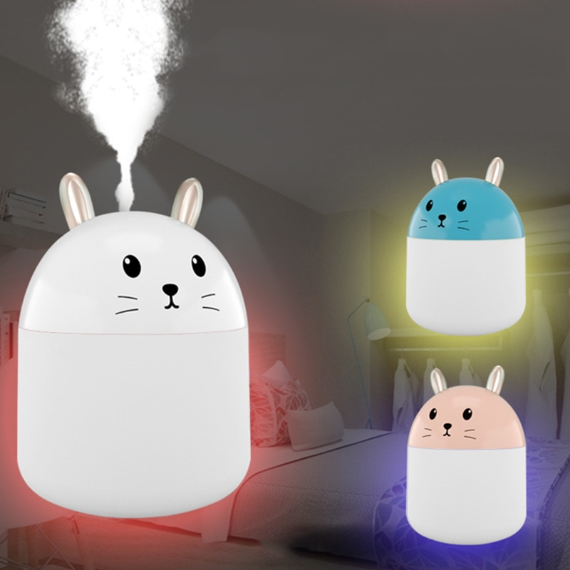 250ml Air Humidifier Cute Carton 7Color Rabbit Night Lights USB Ultrasonic Aroma Essential Oil Humidifier Diffuser For Home 250ml 24 40 soxhlet extractor used for distillation unit oil water receiver separator essential oil distillation kit part