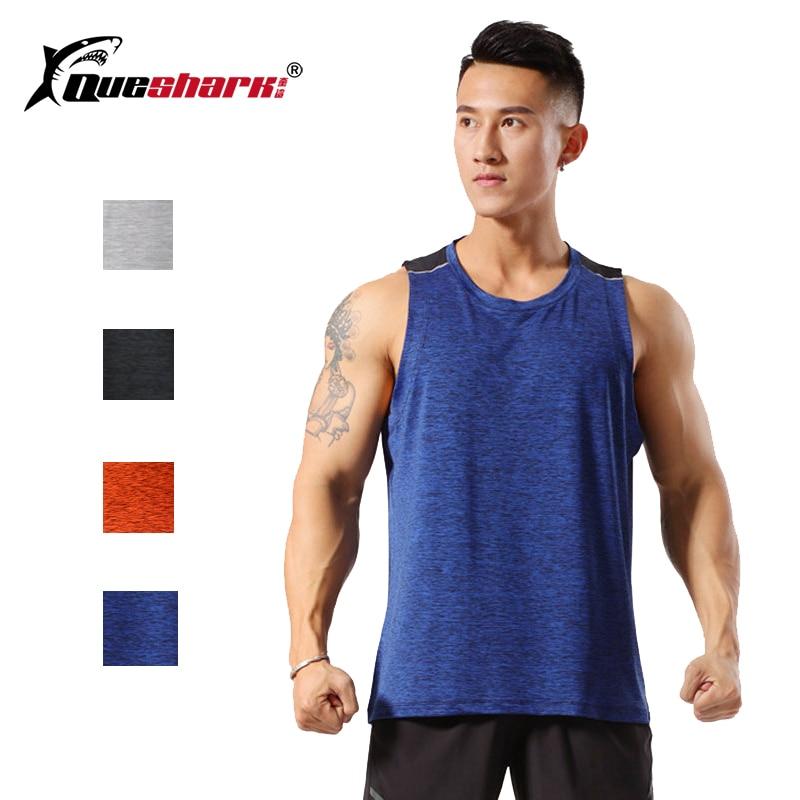 Queshark Professional Men Quick Dry Sleeveless Running Vest Training Tank Tops Gym Bodybuilding Weightlifting Loose