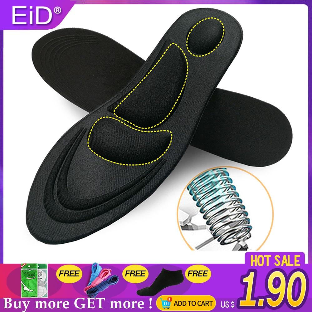 Plantillas de cojín para correr con espuma de memoria elástica EiD 5D, plantillas de mujer para hombre para zapatos, almohadilla ortopédica Unisex