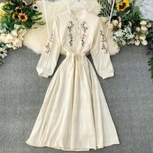 FTLZZ Women Dress Bohemian Embroidery Flowers Cheongsam Dresses Spring Autumn Slim Beige Dress Vestidos
