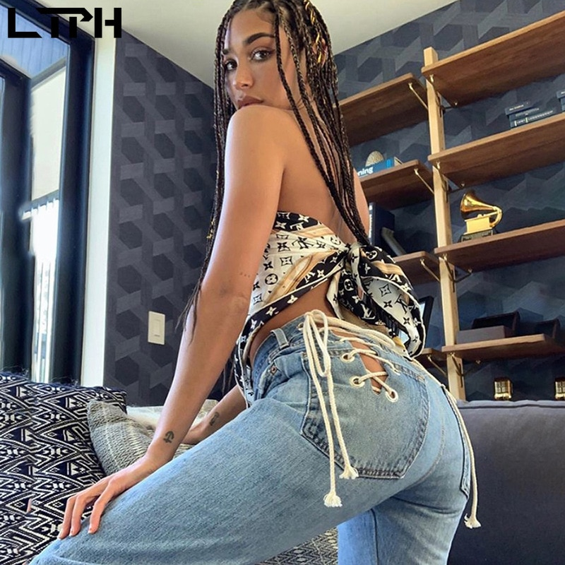 Special sales sexy high waist slim Hollow Out strap design Loose straight jeans women trousers fashion All-match Casual pants