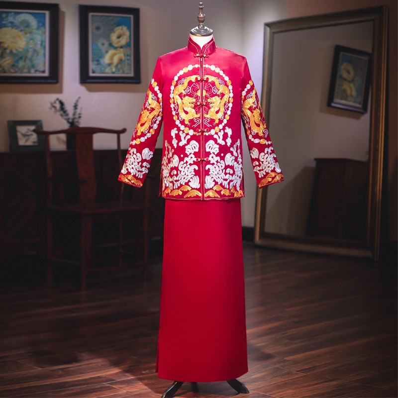 ذكر شيونغسام نخب ازياء العرسان فستان التنين ثوب الزفاف النمط الصيني التقليدي تشيباو الرجال التنين التطريز تانغ دعوى