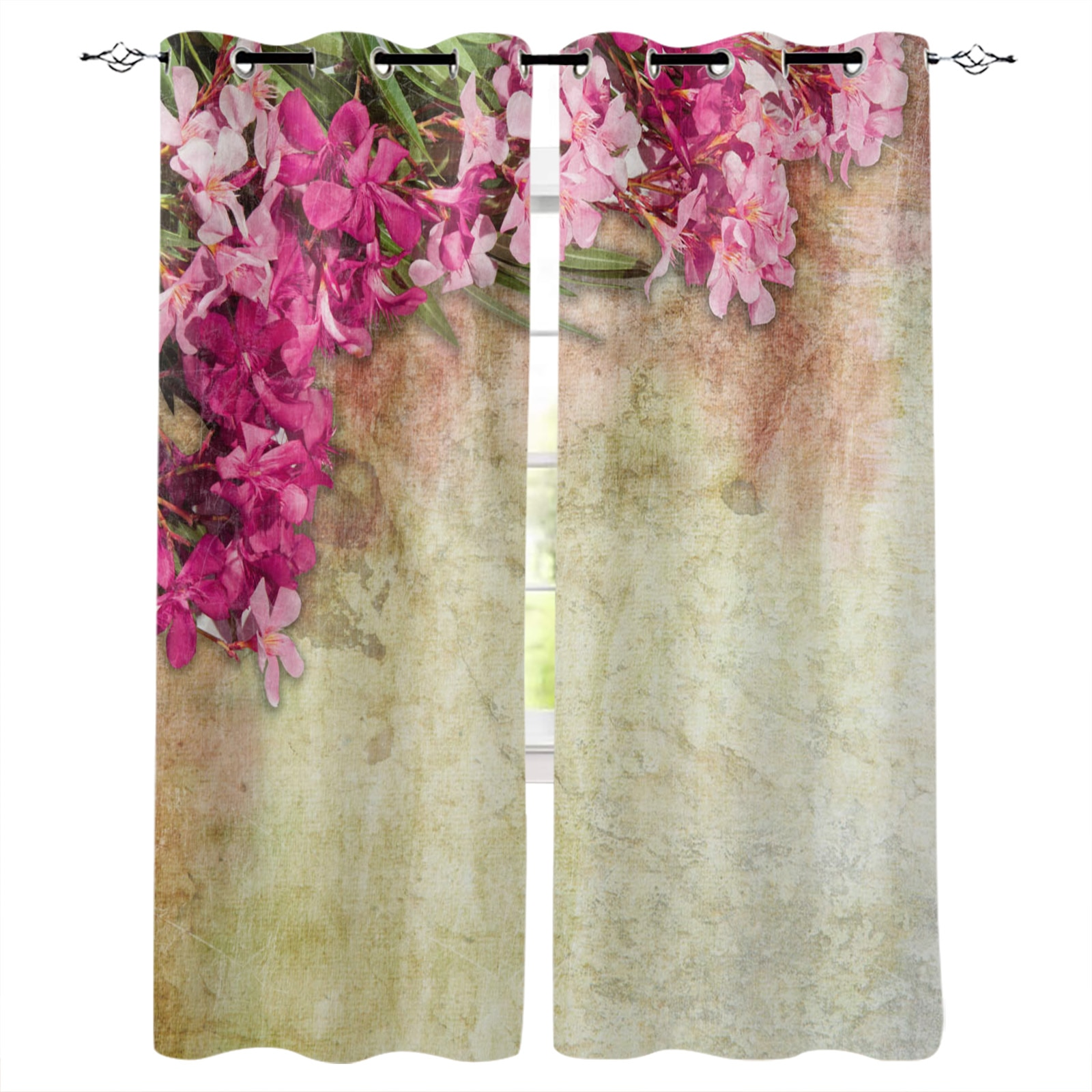 نبات زهور حمراء يترك الرجعية الستائر لغرفة المعيشة غرفة نوم المطبخ نافذة العلاج الستار ديكور المنزل