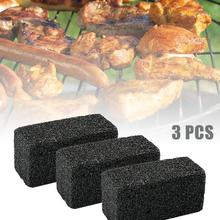 Paquet de 3 briques de nettoyage pour gril, nettoyant pierre ponce outil pour grilles, cuisinières à plaques plates et poêles