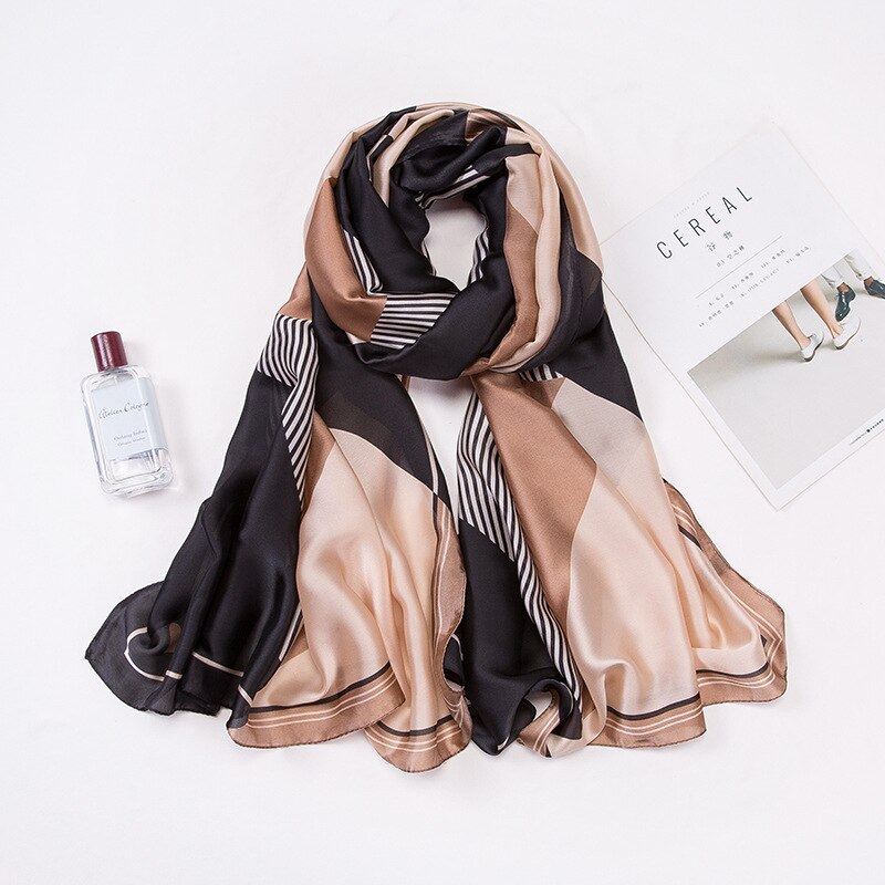 Summer Scarf Fashion Print 90*180cm Silk Scarves Lady Premium Vintage Color Shawls and Wraps Designe