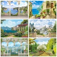 laeacco wedding bridal shower photography backdrops cloudy sky waterfall castle handrail sea landscape baby portrait backgrounds
